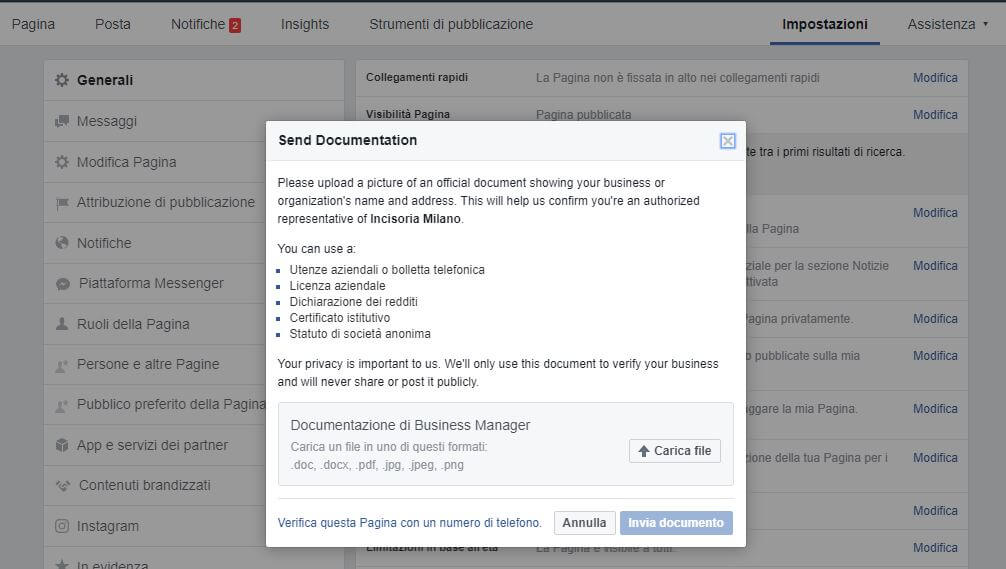 verifica pagina facebook documenti necessari